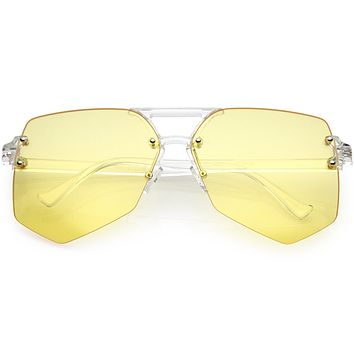 Retro Oversize Color Tone Flat Lane Aviator Sunglasses C710
