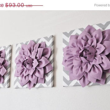 "MOTHERS DAY SALE Wall Art -Set of Three Lilac Dahlia on Gray and White Chevron 12 x12"" Canvas Wall Art - 3D Felt Flower"