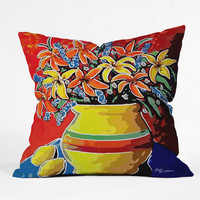 Renie Britenbucher Stylized Lillies And Lemons Outdoor Throw Pillow