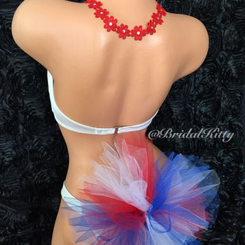 American 4th of July Patriotic Pool Beach Party Flower Crystal Headband Bikini Booty Veil Set Red White Blue