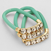 Triple Layered Crystal Mesh Turquoise Bracelet