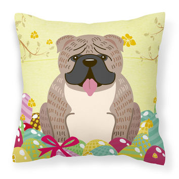 Easter Eggs English Bulldog Grey Brindle  Fabric Decorative Pillow BB6126PW1414