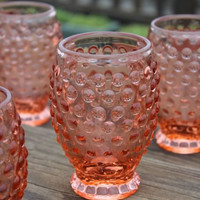 Peach Hobnail Goblets, Set of 4