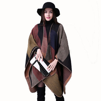 Brand Blanket Pashmina Top Women Winter Scarf Shawl Ladies Large Thicken Plaid Cashmere Poncho Stoles Female Knit Wraps Echarpe