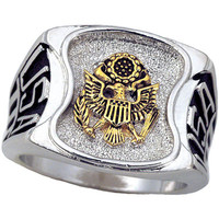 United States Army Men's Signet Rhodium Plated Ring -Size