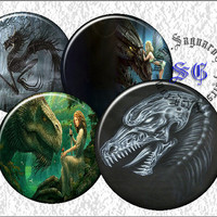 Dragon Art - Digital Collage Sheets - 2.5 inch Circles for Coasters, Mirror Cases, Arts & Crafts Projects