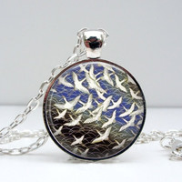 Asian Inspired Necklace - Bird Artwork
