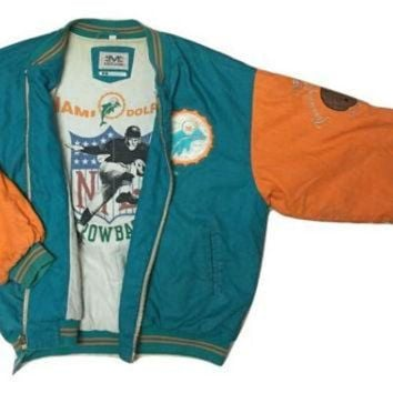 ESBYD9 RARE Authentic Mirage NFL Throwback Vintage Miami Dolphins Jacket Starter coat Clothin