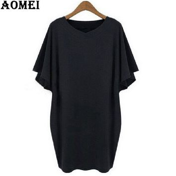 Black Tee Shirt Dress  Women Clothing Casual Dress Summer Cotton Robes Office loose Dresses
