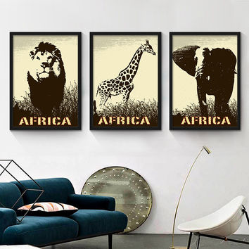 Cafe decorative painting the living room mural painting animal retro personalized black and white posters painted wall paintings