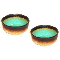 Set of Two Turquoise Green Kosui Large Bowls 5 3/4 Inches