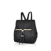River Island Womens Black textured leather-look backpack