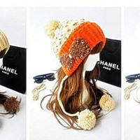 Winter Knitted Wool Hat Women's bowknot ear Lady pompon Beanie Hats