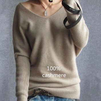 Cashmere sweaters, v-neck sweater loose fit