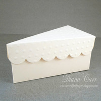 Ivory Wedding Favor Cake Box - Paper Slice of Cake Party Favor