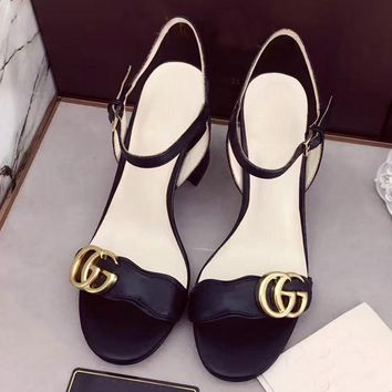 GUCCI Women Buckle Heels Sandals Shoes