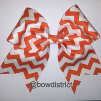 3 Orange and White Chevron Cheer Bow by BowDistrict on Etsy
