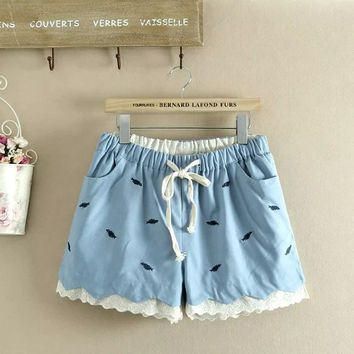 Summer Korean Plus Size Women's Fashion Embroidery Shorts [4918041988]