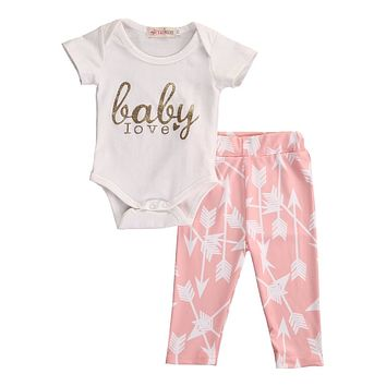 "2pc ""baby love"" arrow print outfit"