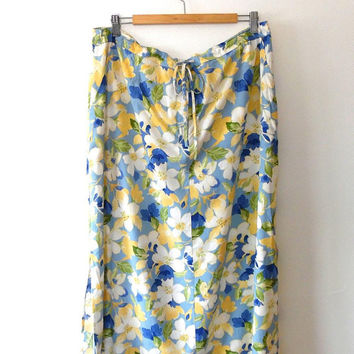 Floral summer skirt / yellow / white / blue / green / vintage / elasticated / tie waist / midi length / XL / retro print skirt