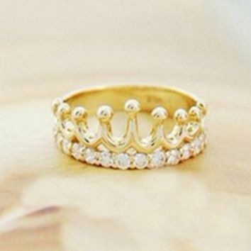 The new fashion jewelry flash diamond crown ring
