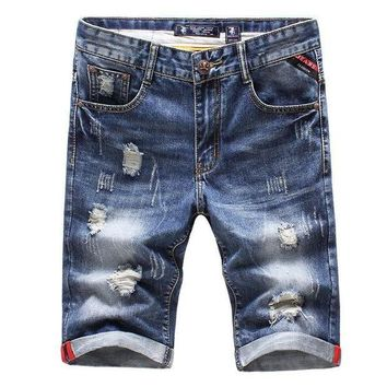 ICIKON3 Good quality men's Big hole Slim short Jeans 2016 New fashion summer Cotton Male Light Blue Casual denim shorts Size 36