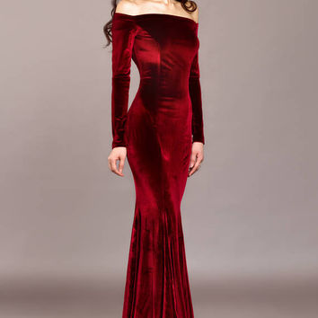 Burgundy velvet dress, Burgundy dress, special occasion dress, Sexy dress, Long dress, Maxi dress, Evening dress, mermaid, open shoulders