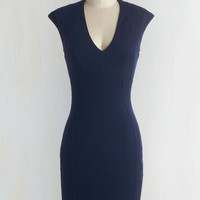 Minimal Mid-length Cap Sleeves Bodycon Raising Glasses Dress