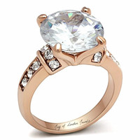 The Joy, A Perfect 18K Rose Gold 6CT Round Cut Russian Lab Diamond Engagement Ring