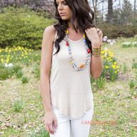 All Day Every Day Sleeveless Ribbed Stone Tank Top