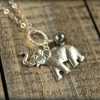 Roaring Elephant Necklace in Silver by saffronandsaege on Etsy