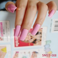Fashion Flat Square Acrylic Artificial Fake Nail Bright Pink False Nails Art Tips Full Cover Designed Nails Faux Ongles 22FN-008