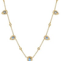 Diamond moonstone statement necklace
