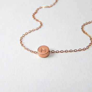 Rose Gold Initial disc necklace, small round disc necklace, rose gold disc necklace, monogram necklace, personal necklace, personalised