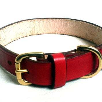"Leather dog collar, 1"" wide, Xlarge, brass buckle, blue dog collar, brown leather collar, red dog collar, handmade"
