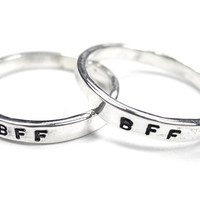 Set of BFF Rings - Best Friends Rings - Two matching Rings- Sterling Silver