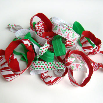 Christmas Hair Tie Grab Bag, FOE, Bulk Hair Ties. Girl Stocking Stuffer, Elastic Hair Ties, Holiday, Small Gift, Red&Green