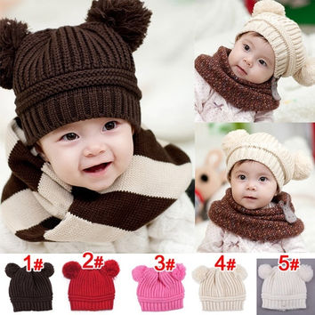 Lovely Baby Girls Boys Kids Dual Ball Knit Wool Sweater Cap Winter Warm Hat  D_L = 1713099588