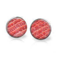 MEAT Earrings Meat Jewelry for Carnivores Meat Lovers Carnivore Jewelry Mens Funny Hipster Steak Earrings Steak Jewelry Red Food Earrings