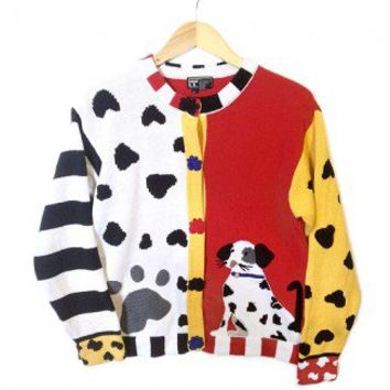 Berek Dalmatian Dog Tacky Ugly Sweater / Cardigan Women's Size Large (L) $28 - The Ugly Sweater Shop