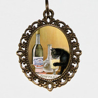 Absinthe Cat Necklace, Art Nouveau, Absinthe Bourgeois, Absinthe Jewelry, Oval Pendant