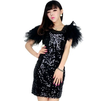 Most Popular Special Design 2016 Woman Clothing Fashion Elegant Special Occasion Silver short Sleeve Sequined Bodycon Dress