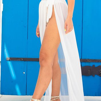 White Tie Side Maxi Beach Sarong