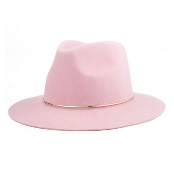 Pink Metal Band Embellished Wool Blend Fedora Hat