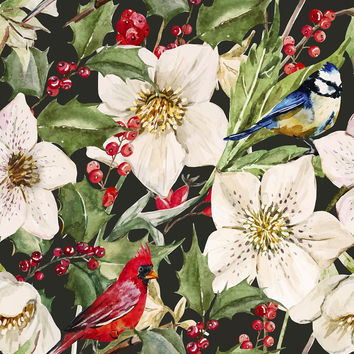 Holly and Hellebores Removable Wallpaper