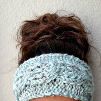 Mint Cable Knit Ear Warmer with Metallic Accents, Silver Embellished Knitted Headband, Mint Ear Warmer, Spring Headband, Easter Gift