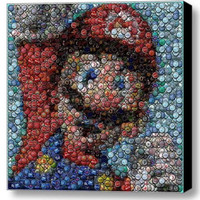 Amazing Framed Nintendo super Mario Bottlecap mosaic print Limited Edition w/COA