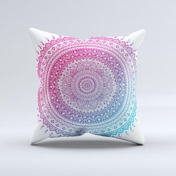 The Ethnic Indian Tie-Dye Circle ink-Fuzed Decorative Throw Pillow