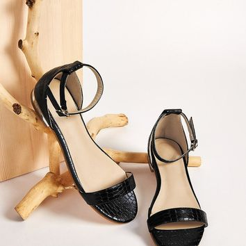 Croc Embossed Ankle Strap Flat Sandals