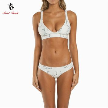 Ariel Sarah Brand 2017 Push Up Bikini Swimwear Women Swimsuit Floral Print White Bikins Set  Biquini Bathing Suit Women Q061